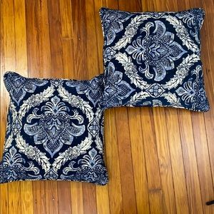 Throw Pillows (set of 2) Navy, Royal, White print